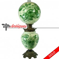 Victorian banquet lamp with uranium glass shade and base, hand-painted with floral design