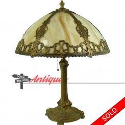 Fancy electric table lamp with six-panel caramel slag glass shade, 100% original