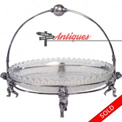 English silver plated bride's basket with etched glass insert and angel stand