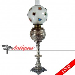 Nickel plated Victorian banquet lamp with faceted jeweled globe and Empire chimney