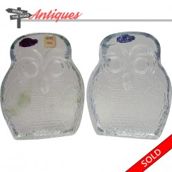 Solid glass owl bookends by Blenko, with original tags