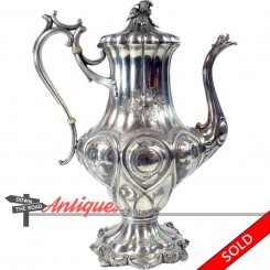 Large silver plated coffee pot with dragon head, by Reed & Barton c. 1870's