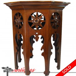 Victorian solid walnut plant stand with cut-out stars and hexagonal design
