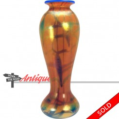 Rainbow iridescent Imperial art glass vase with hanging heart and vine pattern