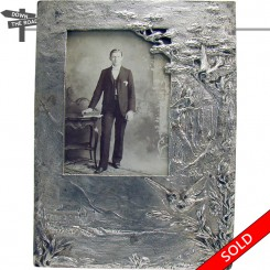 Unusual cast iron nickle plated Victorian picture frame with original photo and glass