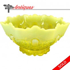 Opalescent Vaseline Uranium glass bowl with ribbed rim and floral pattern