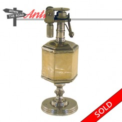 Unusual antique geometric table lighter with very interesting mechanism, fully-functional