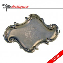 Nickel plated Pan American Exposition tip tray from Buffalo, New York, 1901