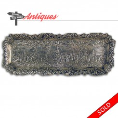 Dutch sterling silver pen tray with repousse village scene, circa early 1900's