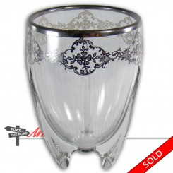 Cut glass torpedo vase with sterling overlay in floral pattern, circa 1920's