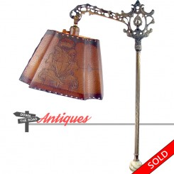 Adjustable antique electric floor lamp with original parchment shade