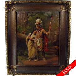 Native American oil painting on canvas depicting Indian chief and squaw by D. Hensel