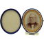 Miniature Portrait on Milk Glass with Velvet Frame - 1860's
