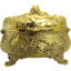 Gold Plated Jewelry Box with Lizards, Crabs, Putti and Birds - 1890's