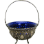Silver Sugar Basket with Cobalt Glass Insert - 1890's