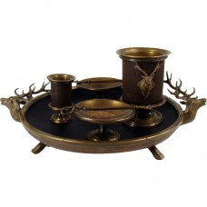 Victorian Brass Cigarette Container, Match Holder and Ashtray with Deer Heads c. 1880