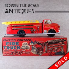 Marx Fire Truck Friction Toy with Aerial Ladders and Siren (SOLD)