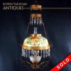 Hanging Pull-Down Library Lamp with Hand-painted Shade - 1880's (SOLD)