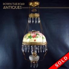Victorian Kerosene Hanging Library Lamp - 1880's (SOLD)