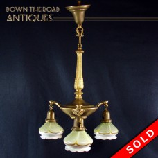Three-Arm Hanging Chandelier with Steuben Feathered Art Glass  Shades - 1910 (SOLD)