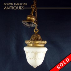 Hanging Pendant Lamp with Acid Cut-back Shade - 1920's (SOLD)