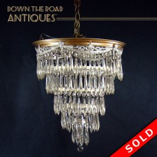 Hanging Wedding-Cake Chandelier with Prisms (SOLD)