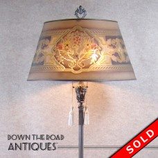 Silver Plated Marble & Alabaster Floor Lamp with Wire Mesh Shade (SOLD)