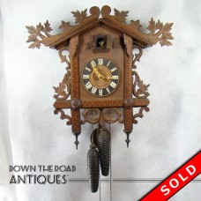 Carved Black Forest Walnut Cuckoo Clock - 1880's (SOLD)