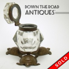 Bronze & Cut Glass Ink Well with Tortoise Mounts - 1880's (SOLD)