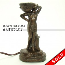 Bronzed Table Top Cigar Lighter with Nude Figure - Art Nouveau (SOLD)