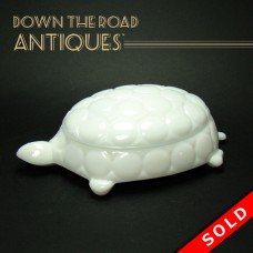 Milk Glass Turtle Cigarette Holder and Ashtray (SOLD)