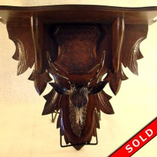Carved Black Forest Deer Head Shelf with Leaves (SOLD)