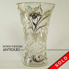 Molded Clear Glass Vase with Silver Overlay - 1930's (SOLD)