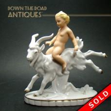 Porcelain Boy Riding Goat Figurine c.1920's (SOLD)