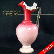 Pink Satin Glass Herringbone Glass Pitcher with Thorny Handle - Victorian (SOLD)