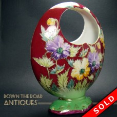 Hand Painted Porcelain Open-Handle Basket Vase - 1920's (SOLD)