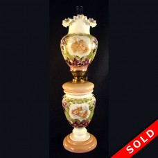 Victorian Kerosene Banquet Lamp with Angels and Opalene Glass (SOLD)