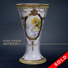 Nippon Porcelain Vase with Hand Painted House and Lake Scene (SOLD)