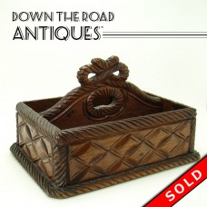 Carved Black Forest Walnut Carrying Tray or Brush Holder - 1890's (SOLD)
