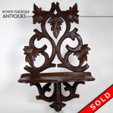 Black Forrest Carved Walnut Shelf - 1880's (SOLD)