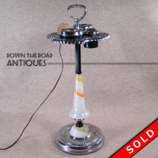 Chrome and Akro Agate Glass Smoking Stand - Art Deco (SOLD)