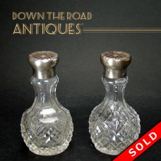 Webster Cut Glass Salt and Pepper Shakers with Sterling Tops - 1910 (SOLD)