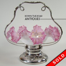 Pink and White Cased Art Glass Bride's Basket with Silver Plated Base  - 1890's (SOLD)