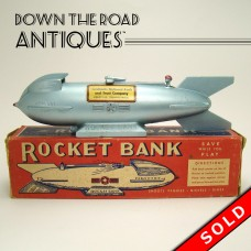 Mechanical Mercury Rocket Bank - Mint in Box - 1950's (SOLD)