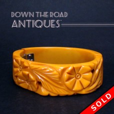 Carved Bakelite Bracelet, Butterscotch - 1930's (SOLD)