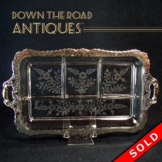 Etched Glass Divided Serving Dish with Silver Overlay - 1920's (SOLD)
