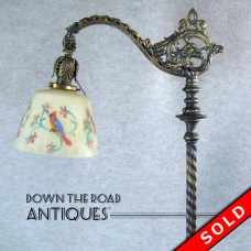 Iron Floor Lamp with Griffins and Reverse-Painted Bird Shade - 1920's (SOLD)
