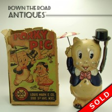 Marx Tin Porky Pig with Umbrella and Top Hat Wind-up Toy in Box (SOLD)