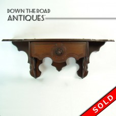 Victorian Black Walnut Clock Shelf with Lion Head and Drawer - 1890's (SOLD)