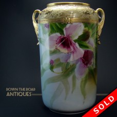 Hand-Painted Nippon Porcelain Vase with Raised Gold Work (SOLD)